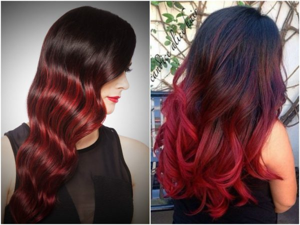 Красное омбре – способы окрашивания на темные волосы, правила выбора оттенка и краски